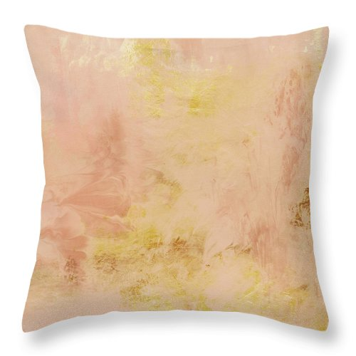 Peach Throw Pillow featuring the painting Peach Harvest- Abstract Art By Linda Woods. by Linda Woods