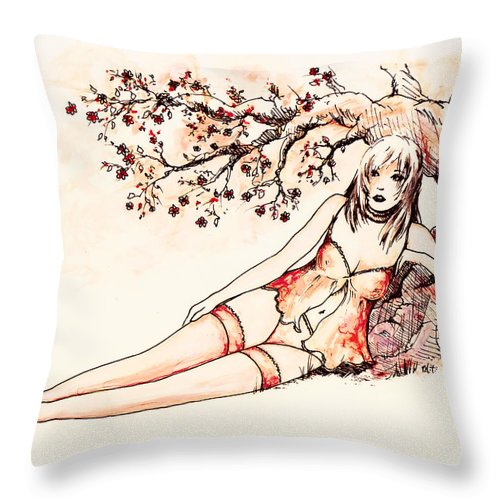 Figure Throw Pillow featuring the drawing Peach by William Russell Nowicki