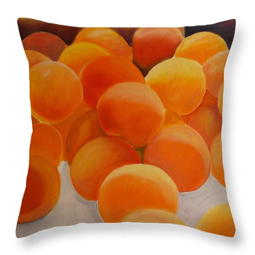 Peaches Throw Pillow featuring the painting Peaches by KCatia Creole Art