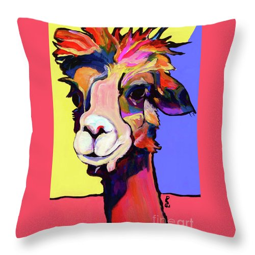Pat Saunters-white Throw Pillow featuring the painting Peaches by Pat Saunders-White