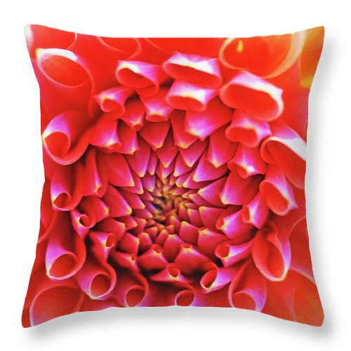Floral Throw Pillow featuring the photograph Peachy Dahlia by Kathy Yates