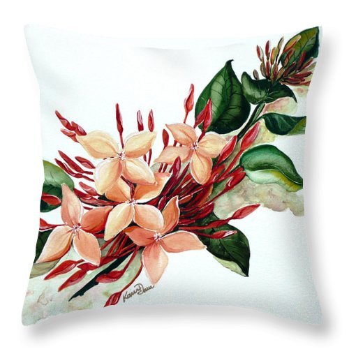 Floral Peach Flower Watercolor Ixora Botanical Bloom Throw Pillow featuring the painting Peachy Ixora by Karin Dawn Kelshall- Best