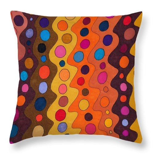 Abstract Multicolor Red Yellow Brown Orange Stripes Circles Fun Decor Wall Art Susan Epps Oliver Throw Pillow featuring the drawing Peachy by Susan Epps Oliver