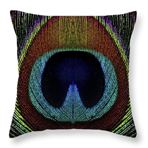 Photograph Throw Pillow featuring the photograph Peacock 1 by Stormshade Designs