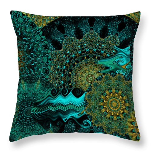 Kaleidoscope Throw Pillow featuring the digital art Peacock Fantasia by Charmaine Zoe