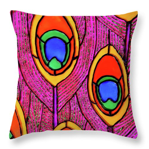Peacock Throw Pillow featuring the glass art Peacock Feathers by Farah Faizal