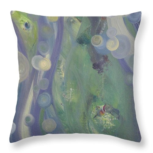 Original Throw Pillow featuring the painting Peacock by Martha Thompson