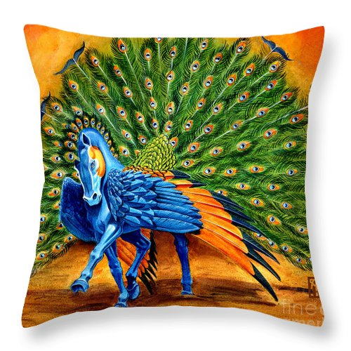 Horse Throw Pillow featuring the painting Peacock Pegasus by Melissa A Benson