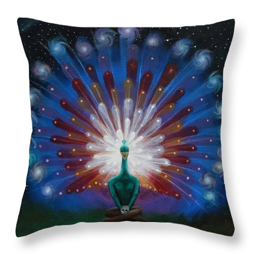 Visionary Throw Pillow featuring the painting Peacocks Tale by Justin Struble
