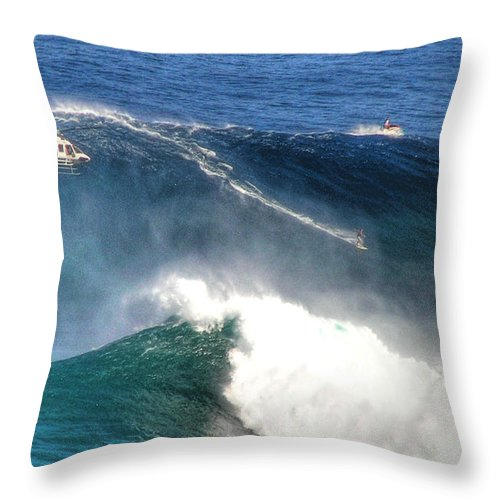 Jaws Maui Surfing Tow In Big Waves Extreme Surfers Helicopters Throw Pillow featuring the photograph Peahi Maui by Dustin K Ryan