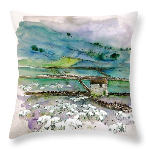 Paintings England Watercolour Travel Sketches Ink Drawings Art Landscape Paintings Town Throw Pillow featuring the painting Peak District Uk Travel Sketch by Miki De Goodaboom