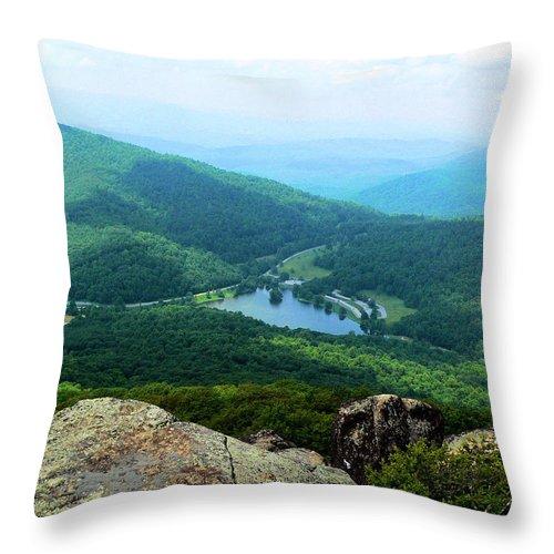 Peaks Of Otter Overlook Throw Pillow featuring the photograph Peaks Of Otter Overlook Va by Denise Jenks