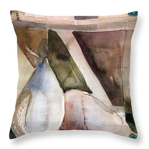 Pear Throw Pillow featuring the painting Pear Study In Watercolor by Mindy Newman