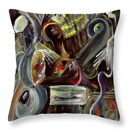 African-american Throw Pillow featuring the painting Pearl Jam by Ikahl Beckford