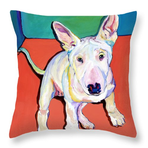 Pet Portrait Commissions Throw Pillow featuring the painting Pearl by Pat Saunders-White