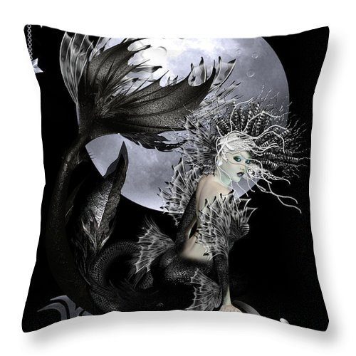 Mermaid Throw Pillow featuring the digital art Pearl by Shanina Conway