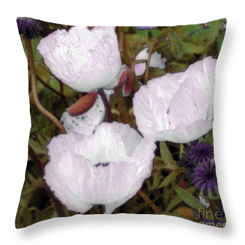 Blooms Throw Pillow featuring the digital art Pearlblossoms by RC DeWinter