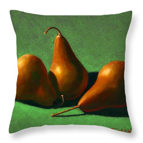 Still Life Throw Pillow featuring the painting Pears by Frank Wilson