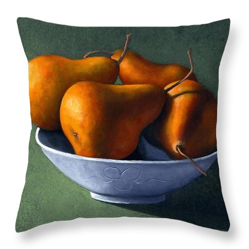 Still Life Throw Pillow featuring the painting Pears In Blue Bowl by Frank Wilson