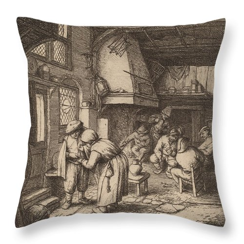 Throw Pillow featuring the drawing Peasant Settling His Debt by Adriaen Van Ostade