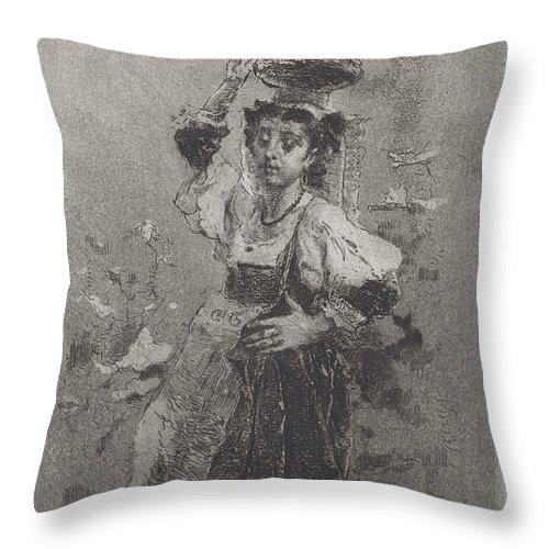 Throw Pillow featuring the drawing Peasant Woman Of The Campagna [ciociara] by Mos? Di Giosu? Bianchi