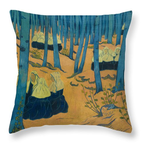 Paul Serusier Throw Pillow featuring the painting Peasants Gathered In A Sacred Wood_ by Paul Serusier