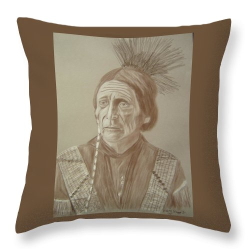 Peatwy Tuck Throw Pillow featuring the drawing Peatwy Tuck-sac And Fox by Edward Stamper
