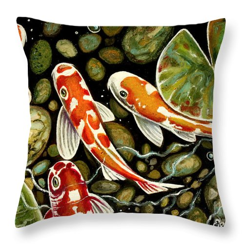 Koi Fish Throw Pillow featuring the painting Pebbles And Koi by Elizabeth Robinette Tyndall