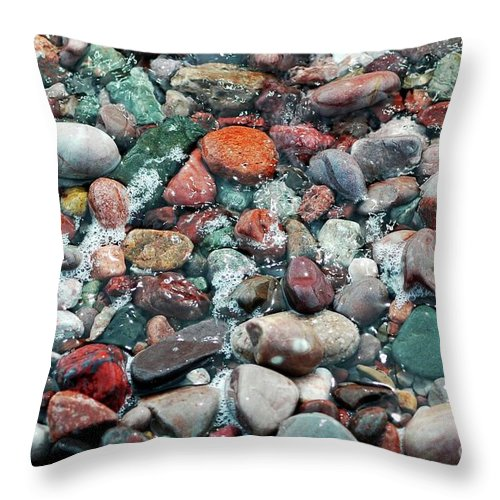 #pebbles Throw Pillow featuring the photograph Pebbles by Kathleen Struckle