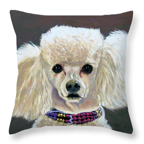 Dog Throw Pillow featuring the painting Pebbles by Stan Hamilton