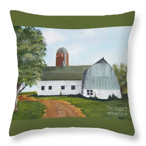 Barn Throw Pillow featuring the painting Pedersen Barn by Mendy Pedersen