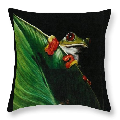 Frog Throw Pillow featuring the drawing Peek-A-Boo by Barbara Keith