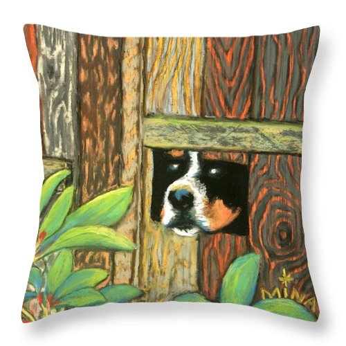 Dog Throw Pillow featuring the painting Peek-a-boo Fence by Minaz Jantz