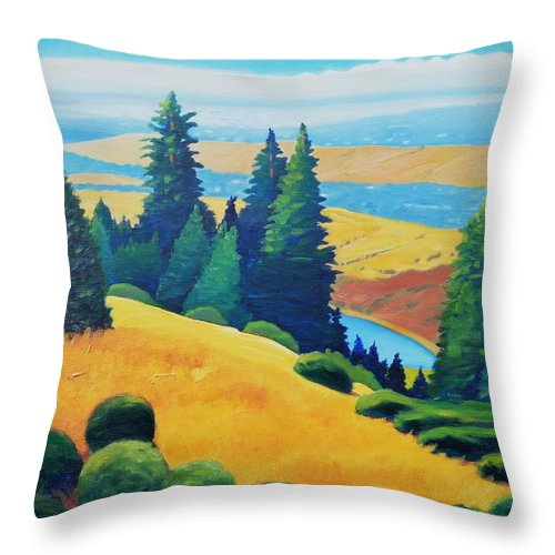 California Landscape Throw Pillow featuring the painting Peek Of Water by Gary Coleman