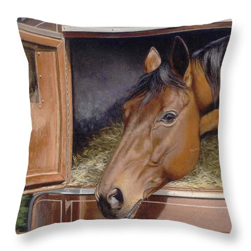 Horse Throw Pillow featuring the painting Peekin... by Deb Owens-Lowe
