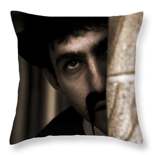 Behind Throw Pillow featuring the photograph Peeking Pastor Pillar by Jorgo Photography - Wall Art Gallery