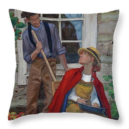 Portrait Throw Pillow featuring the painting Peeling Apples by Jan Christiansen