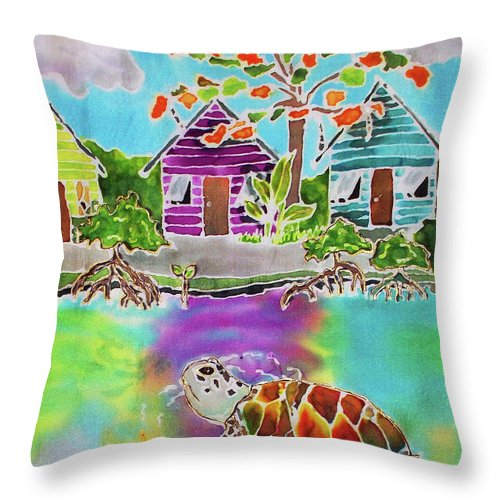 Bahamas Art Throw Pillow featuring the painting Peepin Tom by Tiff