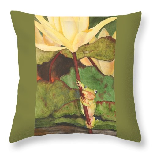 Frog Throw Pillow featuring the painting Peeping Tom by Jean Blackmer