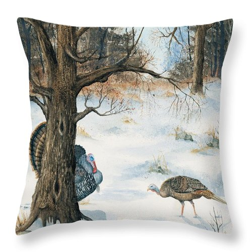 Turkey Throw Pillow featuring the painting Peeping Tom by Mary Tuomi