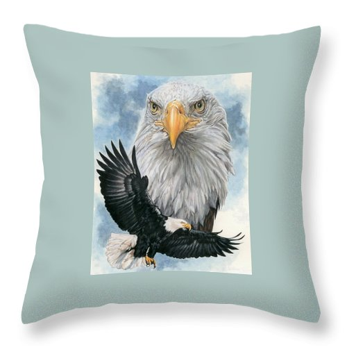 Bald Eagle Throw Pillow featuring the mixed media Peerless by Barbara Keith