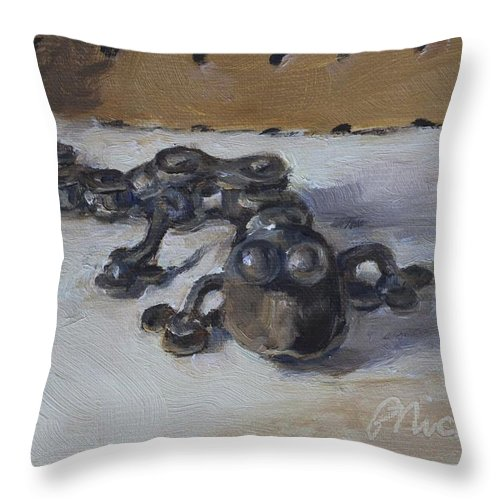 Bicycle Chain Parts Throw Pillow featuring the painting Pegboard Pete by Pamela Nichols