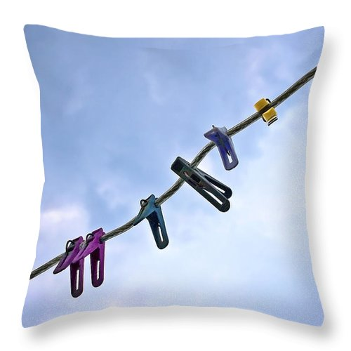 Peg Throw Pillow featuring the photograph Pegging Out by Evelina Kremsdorf