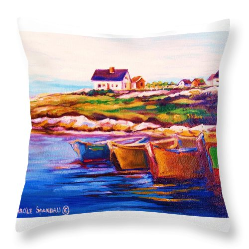 Row Boats Throw Pillow featuring the painting Peggys Cove Four Row Boats by Carole Spandau