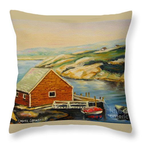 Peggy's Cove Harbor View Throw Pillow featuring the painting Peggys Cove Harbor View by Carole Spandau