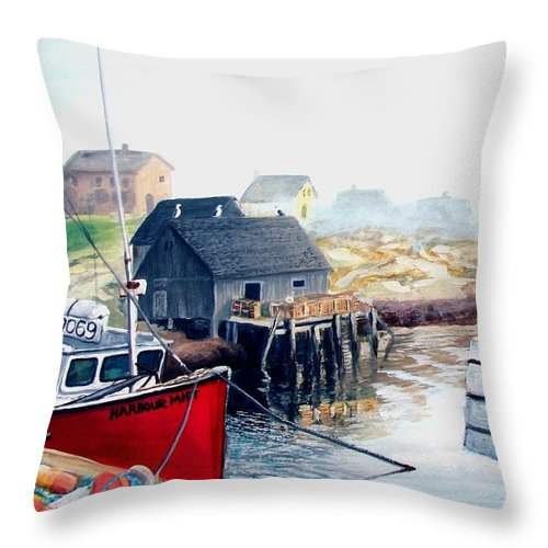 Peggys Cove Throw Pillow featuring the painting Peggy's Cove Harbour by Patricia L Davidson