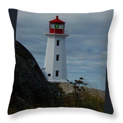 Al Bourassa Throw Pillow featuring the photograph Peggys Cove Lighthouse by Al Bourassa