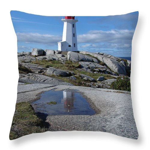 Seascape Throw Pillow featuring the photograph Peggys Cove Nova Scotia Canada by Heather Coen