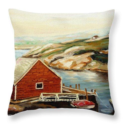 Peggys Cove Throw Pillow featuring the painting Peggys Cove Nova Scotia Landmark by Carole Spandau