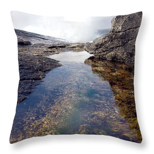 Scenics Throw Pillow featuring the photograph Peggy's Cove Tide Pool by Steve Somerville